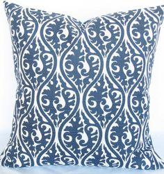 Blue Decorative throw Pillow Cover navy 18x18 kimono same fabric front and back FREE SHIP. $21.00, via Etsy.
