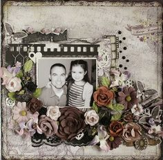 Always Remember ~ Monochromatic heritage page with a lovely border of dimensional flowers that frames the photo. Created with Swirlydoos Lady Belle kit.