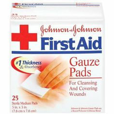 "Johnson & Johnson First Aid Gauze Pads, Medium, 25 ct. by J&J HEALTHCARE. $6.26. Johnson and Johnson first aid gauze steri pads sterile for cleaning and covering wounds.. Johnson & Johnson First Aid Steri Pads Sterile gauze pads are 12 ply, sterile, 100% cotton pads which are constructed of fine mesh, USP Type VII gauze.. Johnson's STERI-PADS 3""X3"" 8523 Size: 25"