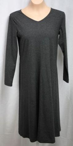 J-Jill-Womens-Maxi-Grey-Stretch-Knit-Long-Sleeve-V-Neck-Dress-Size-Petite-Small