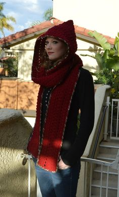 Warm Red Hooded Scarf by HattieReegans on Etsy