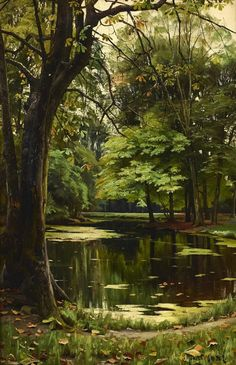 Mork Monsted - Autumn day in the forest; Creation Date: Medium: Oil on canvas; Dimensions: 58 X 40 cm.Peder Mork Monsted - Autumn day in the forest; Creation Date: Medium: Oil on canvas; Dimensions: 58 X 40 cm.