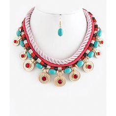 Crystal Round Jeweled Link Rope Bib Necklace Set