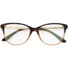 Bulgari Two-Tone Glasses ($289) ❤ liked on Polyvore featuring accessories, eyewear, eyeglasses, brown, two tone eyeglasses, bulgari glasses, bulgari, two tone glasses and bulgari eyewear