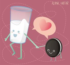 Milk and cookies Illustration by AH ilustration