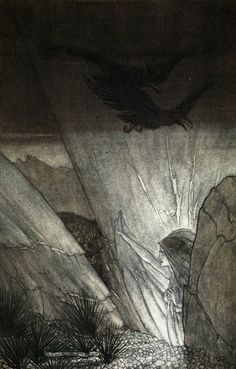 'Erda bids thee beware', illustration from 'The Rhinegold and the Valkyrie', 1910 by Arthur Rackham