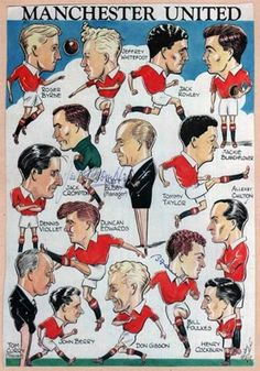 Rare c 1953 Manchester United book plate featuring caricatures of the 'Busby Babes' Man Utd team (inc: Duncan Edwards, Dennis Viollet, Tommy Taylor & Jackie Blanchflower) a few years before the Munich Air Disaster. Signed by Bill Foulkes & Jack Crompton. Manchester United Poster, Manchester United Wallpaper, Manchester United Legends, Manchester United Players, Visit Manchester, Munich Air Disaster, Tommy Taylor, Duncan Edwards, Real Madrid