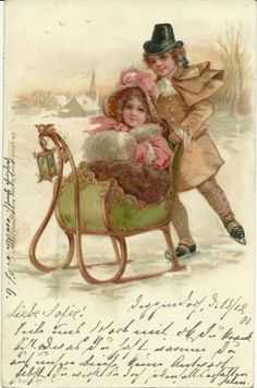 Frances Brundage-Oh what fun this would be-to be pushed in a small sleigh by someone on ice skates-wish I was a child when I see this.