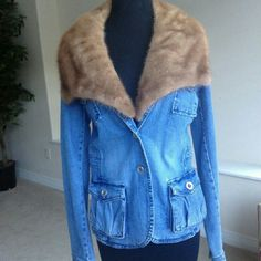 Gorgeous Denim Jean Jacket With Real Fur