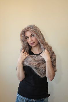 Beige INFINITY HOODED SCARF Hand Knit Mohair Scarf with Hood
