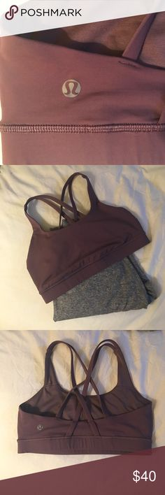 Lululemon energy bra purple fog 6 EUC Impeccable lululemon energy bra in purple fog. Excellent used condition with no flaws of any kind. Rip tag removed for comfort. I am not including the pads because I need them to use with a bra from another posher - but you can pick these up at any lulu store just specify size 6! This is my favorite bra, so supportive I'm just downsizing my collection. Will consider reasonable offers! Purple fog is a subtly muted gray-purple versus a bright/royal purple…