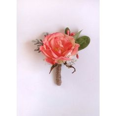 coral peony boutonniere, groomsmen boutonniere, coral flower, grooms,... ❤ liked…