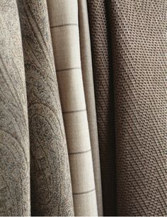 Fall and winter fabrics. Chair Pillow, Pillow Fabric, Cosy Winter, Paint Colors, Color Schemes, Taupe, Upholstery, Textiles, Quilts