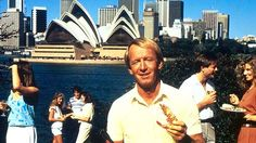 Thirty years ago this month Paul Hogan took the US by storm as the loveable ocker who urged Americans to put a shrimp on the barbie. Australia Tourism, Australia Day, Connor Clothing, Richie Benaud, Shrimp On The Barbie, Aussie Bbq, Hogans Heroes, Party Scene, Walkabout