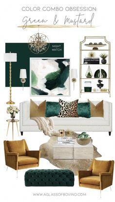 Large Living Room Furniture, Glam Living Room, Living Room Green, Glam Room, Living Room Decor, Bedroom Decor, Mustard Living Rooms, Wooden Furniture, Appartement Design