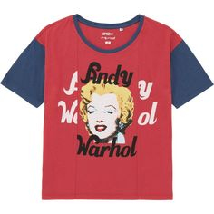 UNIQLO Women Sprz Ny Short Sleeve T-Shirt (Andy Warhol) ($3.90) ❤ liked on Polyvore featuring tops, t-shirts, shirts, red, red t shirt, american t shirt, americana shirts, uniqlo t shirts and american tees