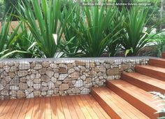 Timber and gabion.