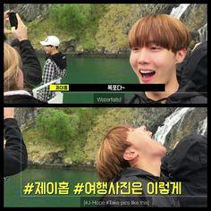 #BTS #방탄소년단 Bon Voyage Episode 3 Behind Cam ❤ Why take a normal selfie when you can take a Hobi selfie.