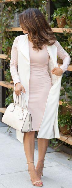 nude dress   white vest