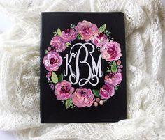 Monogram Journal // Monogram Gift // Floral Painted Notebook // Handpainted Floral Notebook