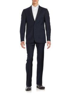 CALVIN KLEIN Two-Button Wool Suit Set. #calvinklein #cloth #set