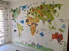 Çocuk Odası - Bebek Odası Hayvanlar Alemi Dünya Haritası Duvar Kağıdı