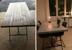 Denne uges DIY er et rustikt plankebord til din stue. Diy Interior, Interior Design, Diy Dining Table, Dining Room, Kitchen Seating, Minimalist Interior, Ikea Hacks, Dinner Table, Interior Inspiration