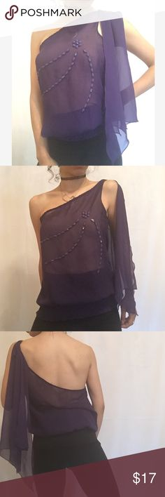"""Ruffle mesh embroidered jeweled one shoulder top •no trades 🚫 •SHIPS TOMORROW💋  •Brand new!  •true to size last one in our pop up shop! So selling here    - soft fabric- att I'm wearing nude nip slips as this is see through @goguios in insta 📸(account manager )pic 1-4 🎀visit """"Closet Rules"""" for more info - Timeless Look Men  👦🏾👦🏽👦🏼@timelesslookmen NOW OPEN more info in closet 💕👦🏿👦🏻 boutique Tops Blouses"""
