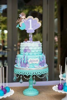 Little mermaid first birthday cake