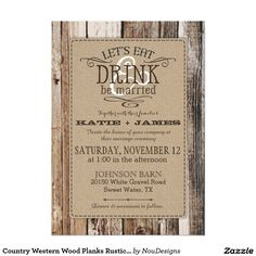 Country Western Wood Planks Rustic Wedding 5x7 Paper Invitation Card