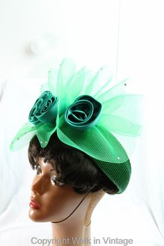 c2bc357b7e9bc 1950s Glamorous Green Flower Hat Vintage Hats