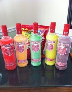 Skittle bombs: take bottles of unflavored vodka and packs of Skittles, pick one Skittle colour and put that colour in a bottle. Shake until they dissolve. Freeze to chill before serving!