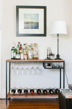 39 ideas for apartment diy bar ikea hacks Ikea Bar Cart, Diy Bar Cart, Bar Cart Decor, Bar Carts, Bar Trolley, Mini Bars, Ikea Hacks, Desk Hacks, Bar Portable