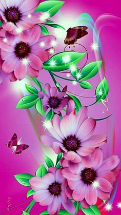 Beautiful Pink and Green print On Canvas - Canvas Wall Decor Flower Phone Wallpaper, Butterfly Wallpaper, Heart Wallpaper, Love Wallpaper, Colorful Wallpaper, Cellphone Wallpaper, Iphone Wallpaper, Beautiful Flowers Wallpapers, Beautiful Nature Wallpaper