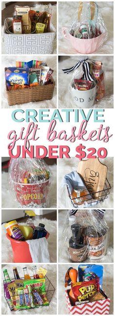 Creative Gift Basket Ideas all under $20. #giftideas #giftbaskets #budgetgifting #diygift