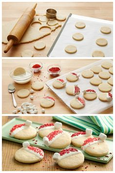 Perfect for cookie exchanges and your holiday cookie tray! These santa hat cookies will be a blast to make with the kids!