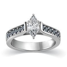 #blackdiamondgem 3/4 ct tw White & Black Marquise Cut Diamond Cathedral Accent Diamond Engagement Ring 14K White Gold on sterling by Glitterati - See more at: http://blackdiamondgemstone.com/jewelry/wedding-anniversary/engagement-rings/34-ct-tw-white-black-marquise-cut-diamond-cathedral-accent-diamond-engagement-ring-14k-white-gold-on-sterling-com/#!prettyPhoto