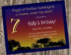 Fireflies Birthday invitation