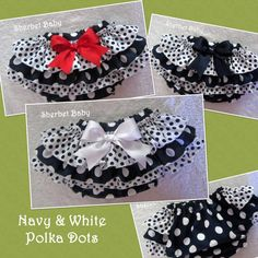 Navy & White Polka Dot Sassy Pants Ruffle Diaper by SherbetBaby