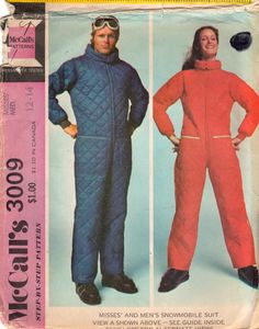 McCalls 3009 1970s Misses SNOWMOBILE SUIT Jumpsuit by mbchills