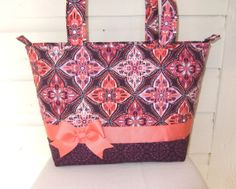 Quilted Purple and Coral Design Purse / Tote / by MsSewItAll32, $40.00
