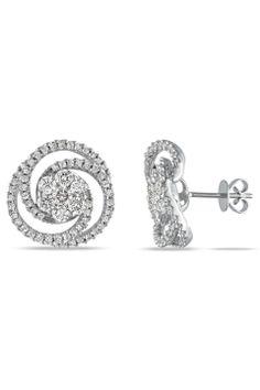 2Ct. Diamond Stud Earrings in 14K White Gold - Beyond the Rack