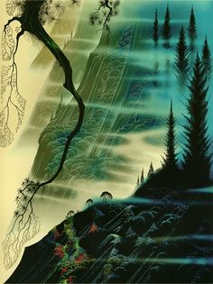 Eyvind Earle, Sea Cliffs and Redwoods, Limited Edition, Serigraph on Paper at Doubletake Gallery New York City, Eyvind Earle, Spiritual Photos, Magic Realism, Art Database, Famous Artists, American Artists, Les Oeuvres, Illustrators