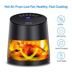 Air Fryer, Bagotte Programmable Hot Airfryer Oven & Oilless Cooker for Roasting, for sale online Healthy Oils, Healthy Cooking, Air Fryer Review, Best Air Fryers, Ceramic Coating, Skinnytaste, Cooking Oil, No Cook Meals, Cooker