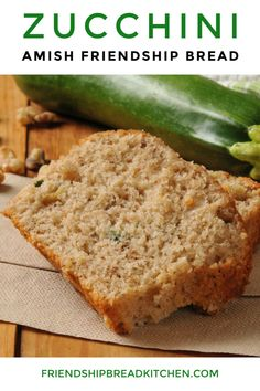 Moist and delicious, this Zucchini Amish Friendship Bread makes a wonderful edible gift for friends and co-workers. Amish Bread Recipes, Zucchini Bread Recipes, Banana Bread Recipes, Sourdough Recipes, Dutch Recipes, Sourdough Zucchini Bread Recipe, Friendship Bread Recipe, Friendship Bread Starter, Amish Friendship Bread