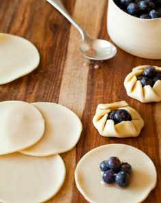 mini blueberry (or fruit of choice) galettes: Fast & easy with pre-made pie crusts or use the recipe provided to make your own. Pretty on a dessert table.