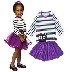 Find More Clothing Sets Information about 2016 New Spring Fashion Children Set Cartoon Cat Long sleeved Striped T shirt+Purple tutu Skirt Children's clothes ropa nina,High Quality skirt accessories,China skirt school Suppliers, Cheap skirt clubwear from online kids on Aliexpress.com