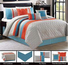 Embossed 7 Piece Bedding Blue / Grey / Orange Striped Kin... https://www.amazon.com/dp/B01ELD939U/ref=cm_sw_r_pi_dp_T3tIxb39KBQ2P