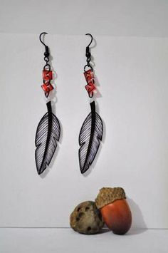 Shrinky Dink earrings by green_jacket - like the itty bitty red squares...