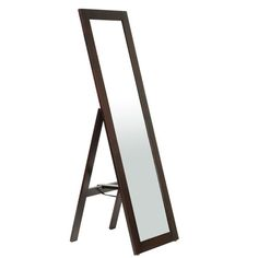 This freestanding floor mirror creates a traditional vignette in your bedroom or vanity. Surrounded by a dark espresso wood frame, this piece sets a contempo...